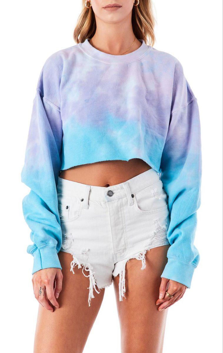 Sea Cloud Tie Dye Crop Sweatshirt In 2020 Crop Sweatshirt Crop Top Hoodie Sweatshirts [ 1200 x 758 Pixel ]