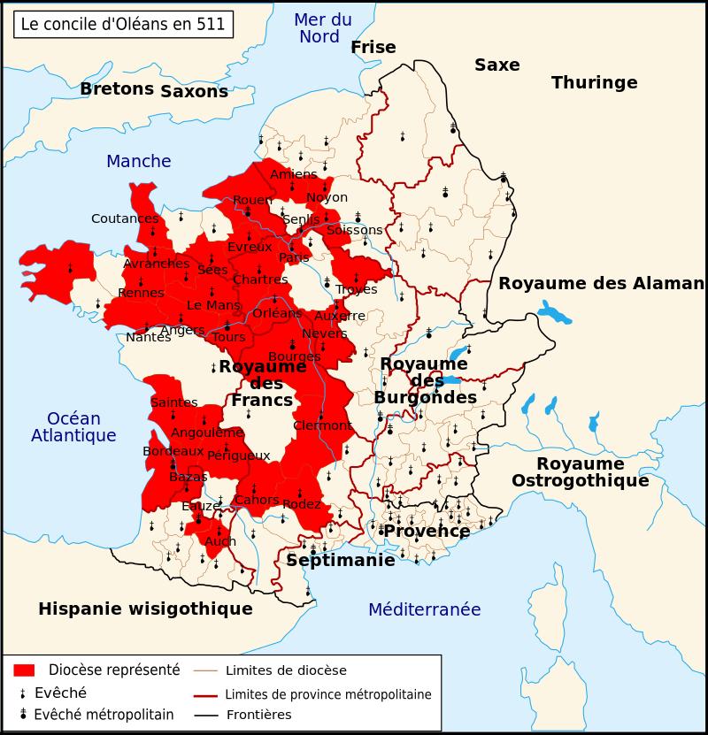 Le Concile D Orleans En 511 Clovis Ier Wikipedia Royaume De France Wisigothique Roi De France