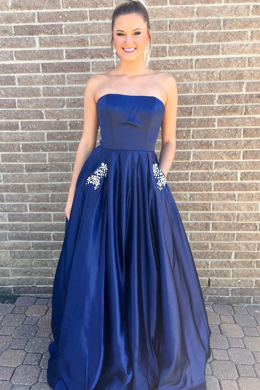 Princess strapless navy blue long prom dress with pockets a