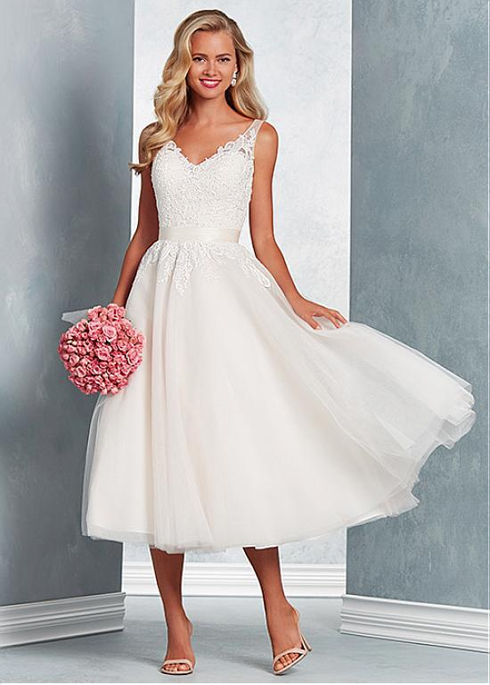 Magbridal Pretty Tulle V Neck Neckline Tea Length A Line Wedding