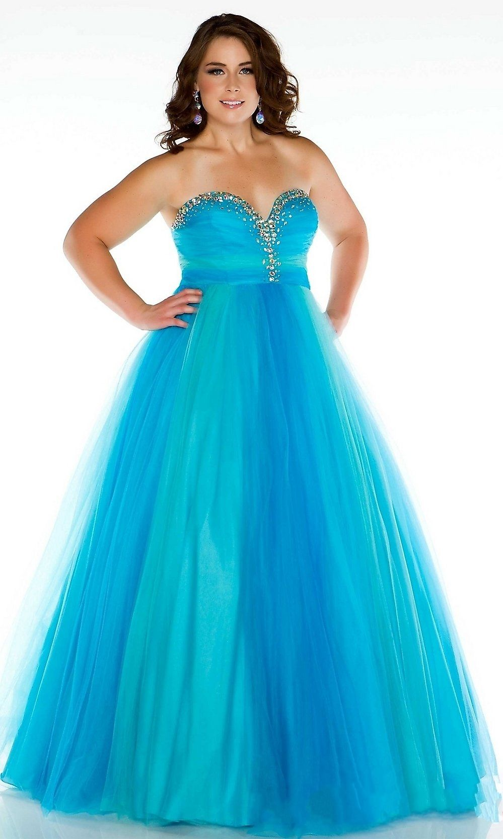 Ball Gown Sweetheart Beading Tulle Plus Size Prom Dresses | And On ...
