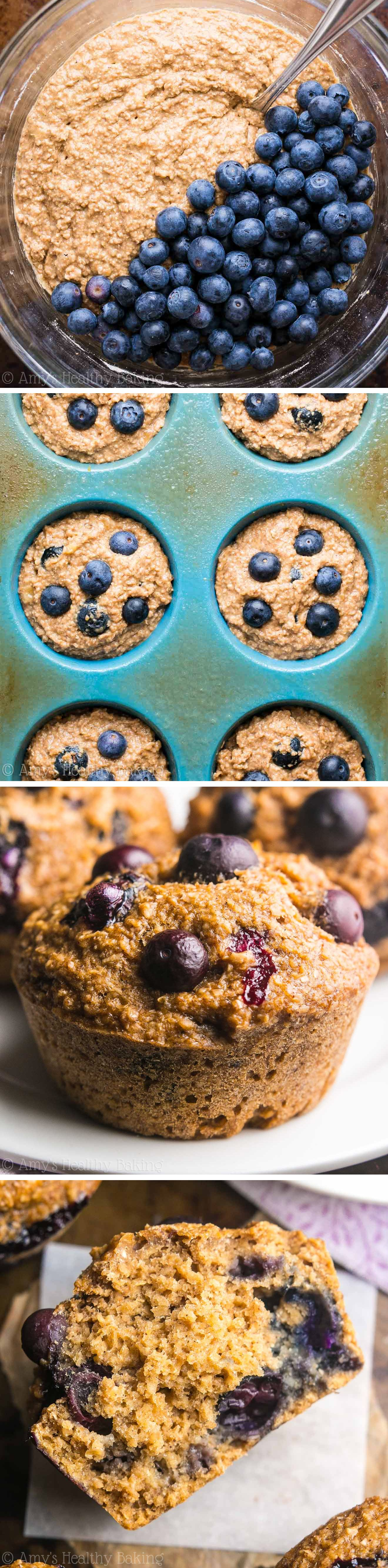 Healthy Blueberry Banana Bran Muffins An Easy No Fuss
