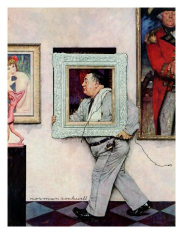 Picture Hanger or Museum Worker, March 2,1946 Giclee Print by Norman Rockwell