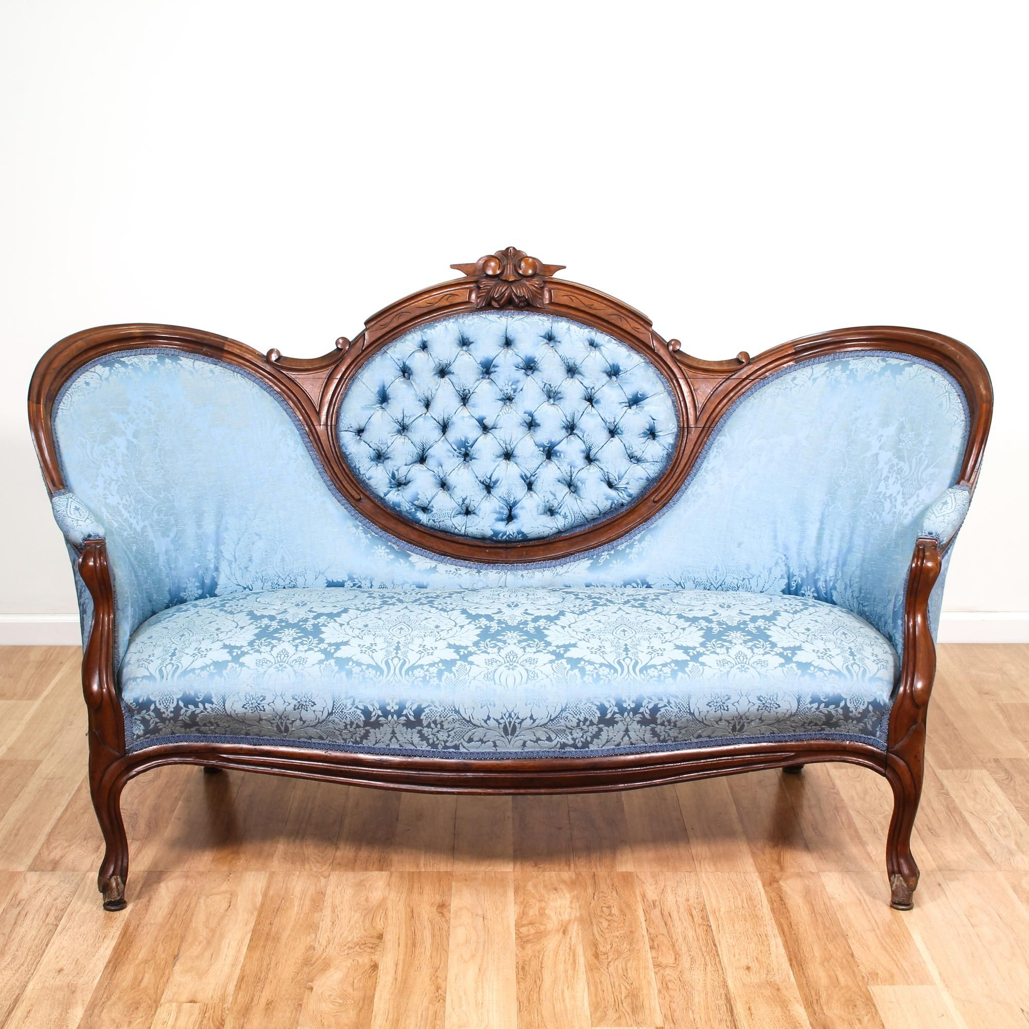This Victorian Sofa Is Upholstered In A Durable Silk Like Blue