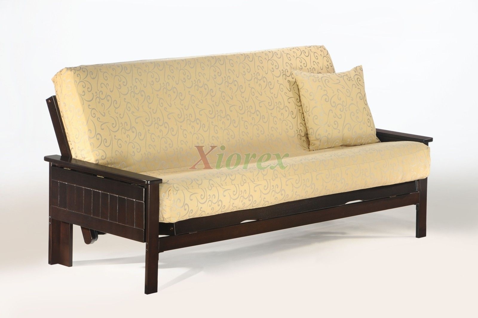 Seattle Futon by Night and Day Dark Chocolate Futon Convertible   Xiorex Seattle Futon by Night and Day is solid wood convertible futon furniture. The Seattle Futon comes with a classic tray-arm on each side of the futon convertible and is available in variety of finishes.  Check futon mattresses and futon size shopping guide. https://www.xiorex.com/night-and-day-seattle-futon-convertible