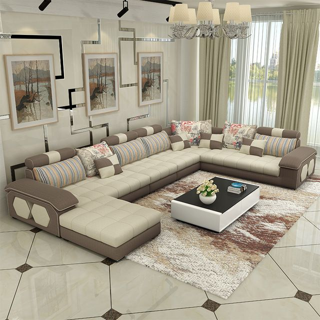 Sofas Muebles Living Room Furniture Modern L Shaped Fabric Sectional