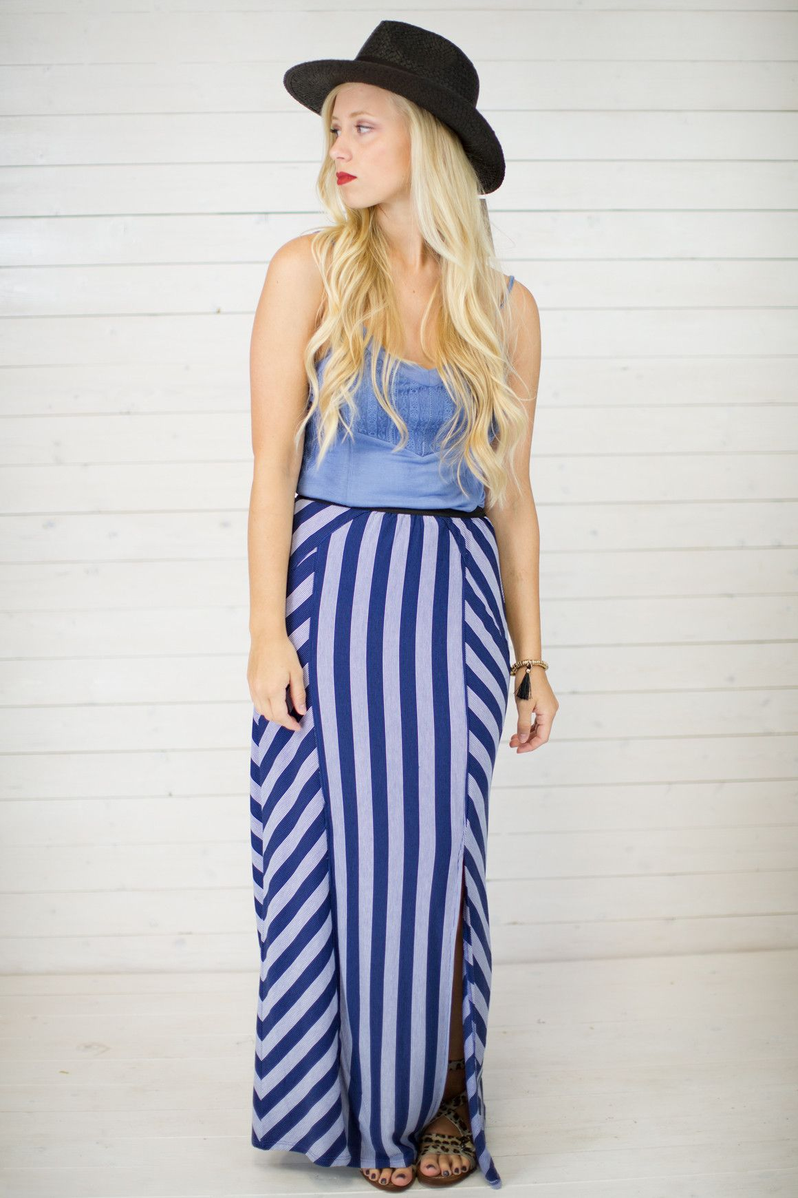 Criss Cross Stripe Maxi Skirt