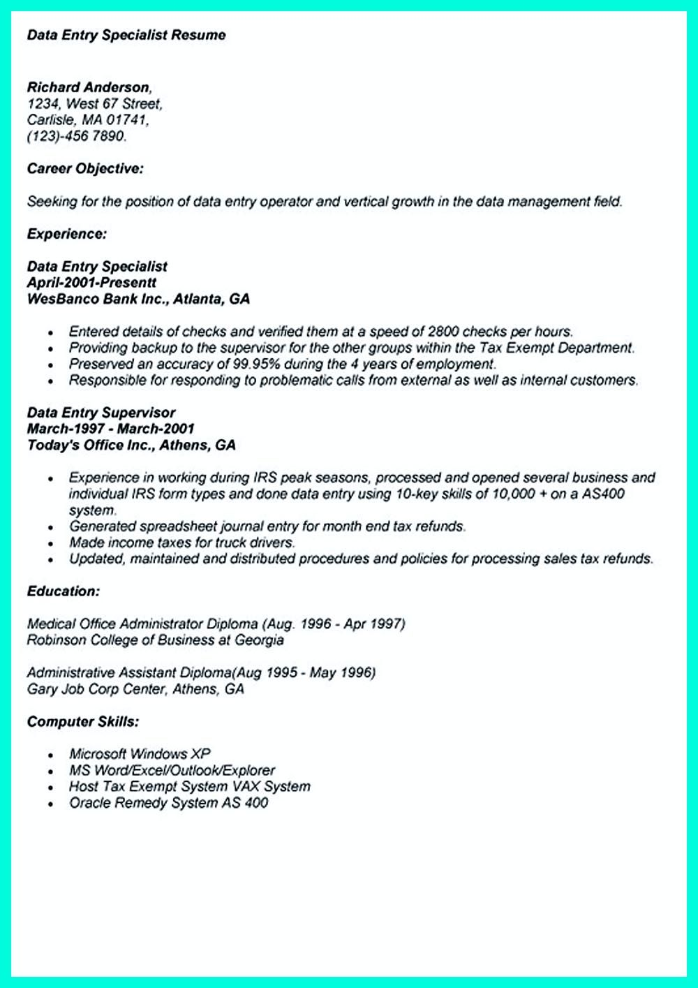 the resume including for the data entry specialist resume must be well data entry resume samples