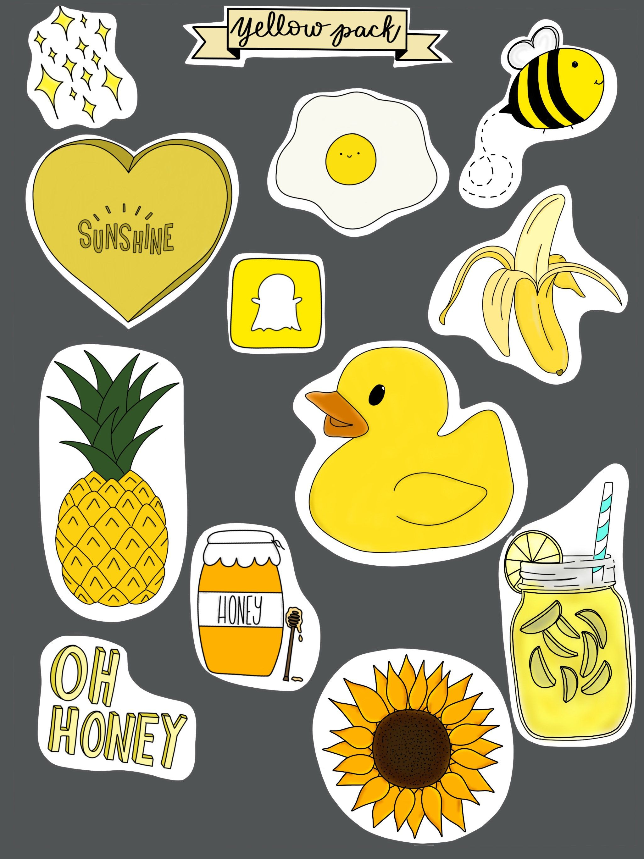 Yellow Stickers pack of 12 Etsy Tumblr stickers, Cute