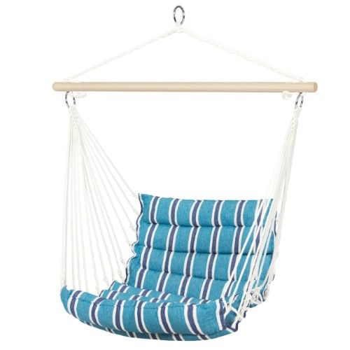 Blue OMNI Patio Swing Seat Hanging Hammock Cotton Rope Chair With Cushion Seat