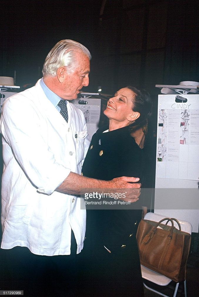 The French fashion designer Hubert de Givenchy photographed with his best friend and muse Audrey Hepburn before the fashion show of his haute couture collection in Paris, on January 28, 1991.