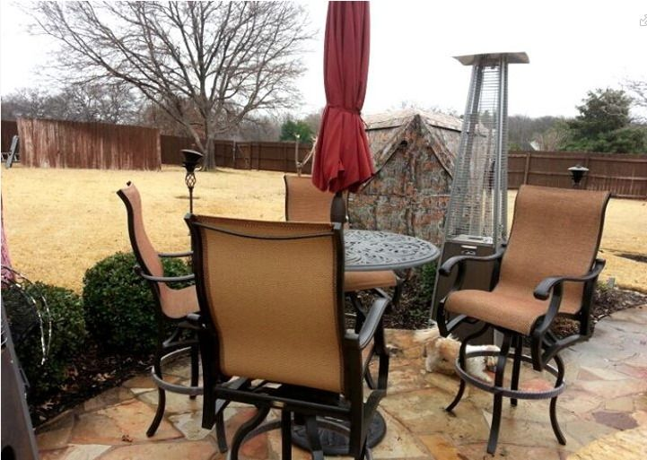 Mallin Volare Sling 30 Barstools With A Chateau Bar Table And 9 Auto Tilt Umbrella From Treasure Garden Patio Outdoor Rooms Yard Art