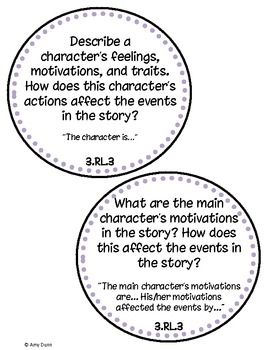 3rd Grade Common Core Reading Question Cards with Sentence