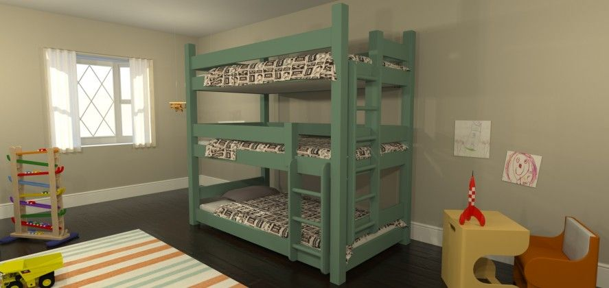 Katahdin Triple Bunk Beds For Small Rooms Triple Bunk Beds