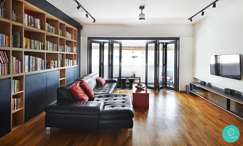 folding door without track in living room condo singapore - Google ...