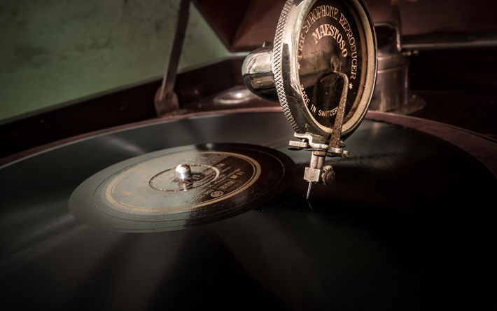 Download Wallpapers Gramophone Vinyl Records Old Music Player Retro Things Music Besthqwallpapers Com Music Notes Background Music Wallpaper Music Room Decor
