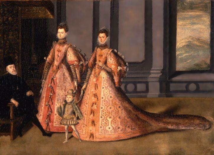 Phillip II's daughters Isabella Clara Eugenia and Catalina Michaela.