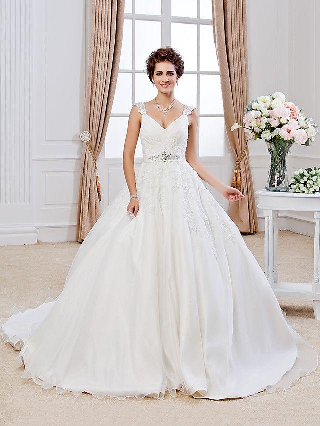 Lan Ting Ball Gown Plus Sizes Wedding Dress - Ivory Chapel Train V ...