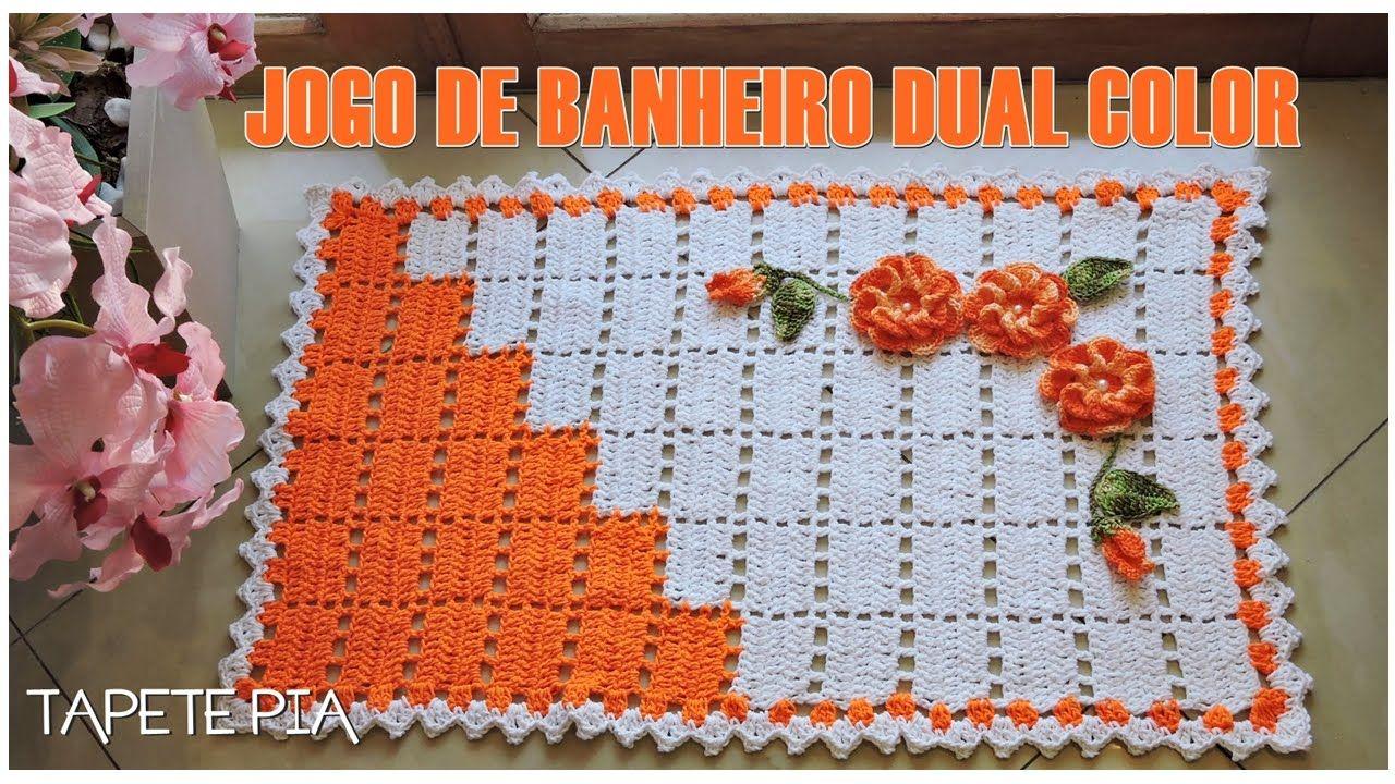 JOGO DE BANHEIRO DUAL COLOR TAPETE PIA | Jogos de Banheiro em Crochê ...