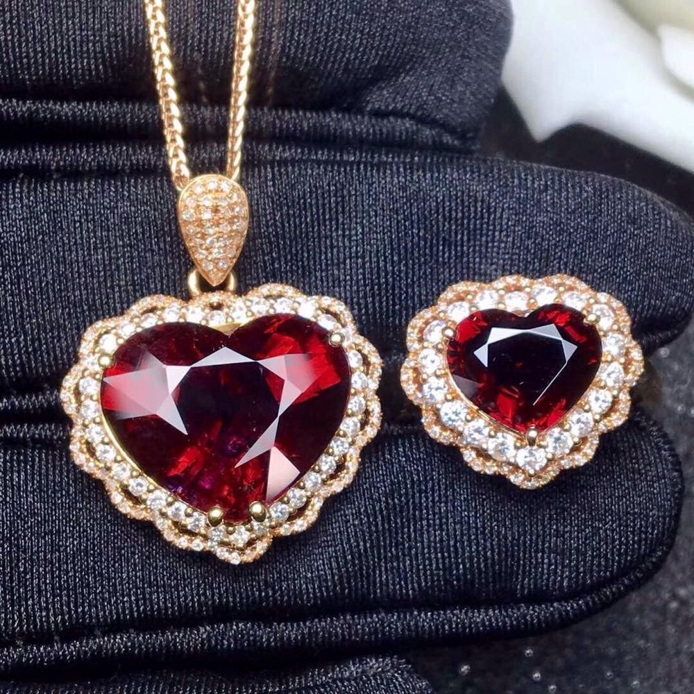 Tourmaline rubellite ring u pendant set diamond k rose gold