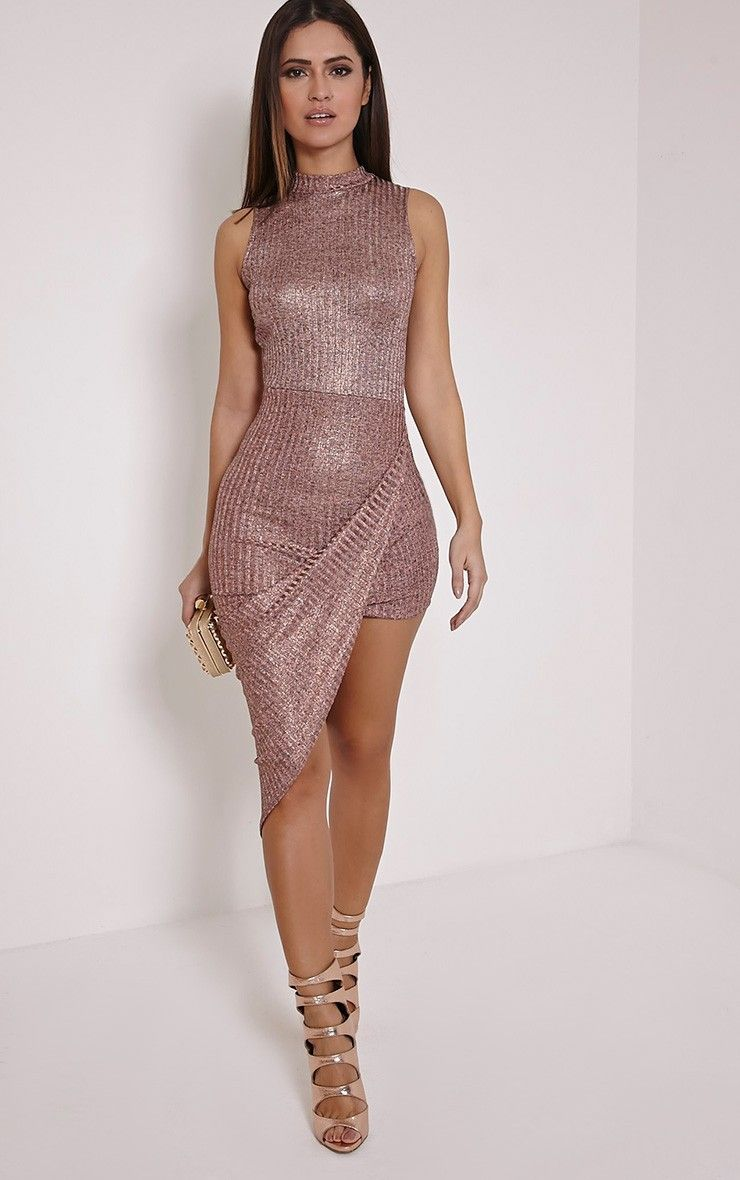 prim rose gold lurex asymmetric drape dress  rose gold