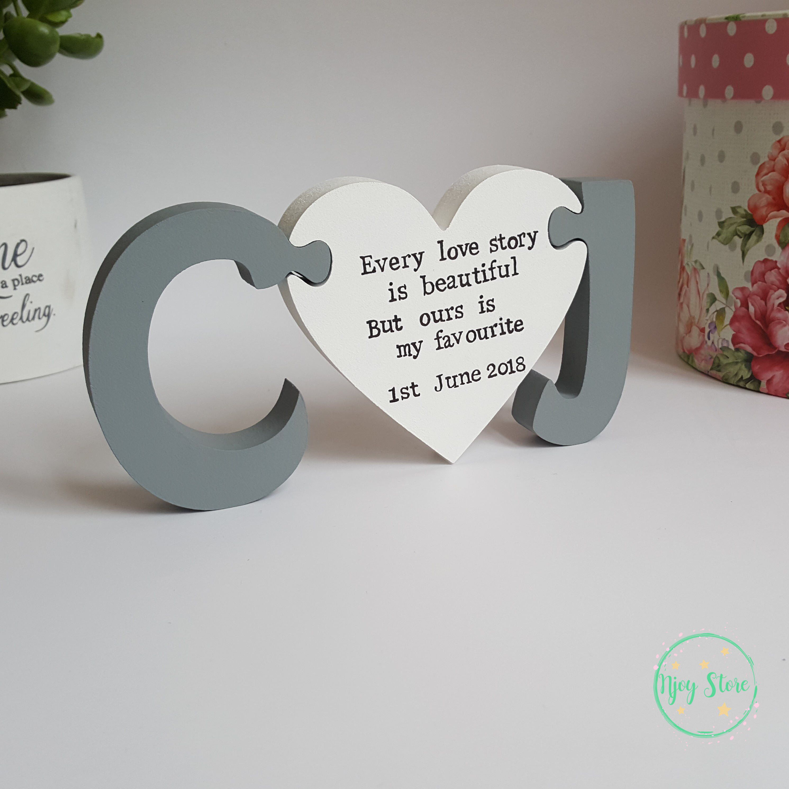 Personalised Freestanding Initials Wood Letters And Heart