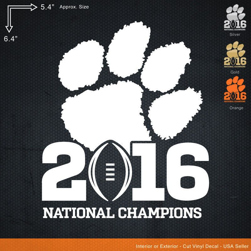 Clemson tigers national champions 2016 ncaa college football car decal sticker