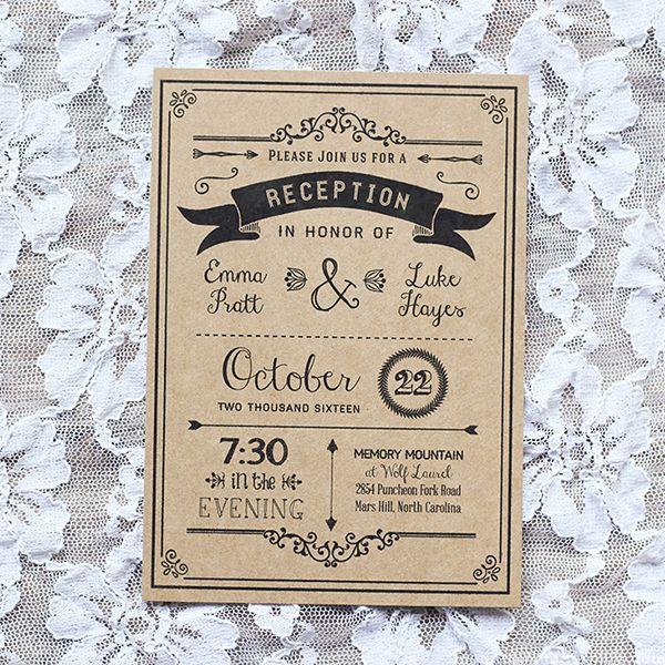 Wedding Reception Invitation Wording Ideas: Black Rustic DIY Reception Only Invitation