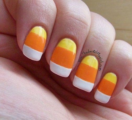 Candy Corn Nails Candy Corn Nails Halloween Nails Diy Halloween Nail Designs