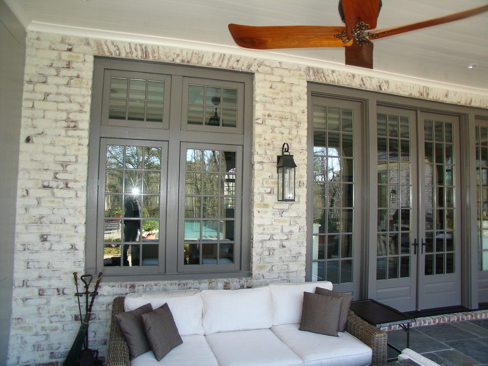 Exterior Brick Lime Wash Porch Traditional With Biocalce