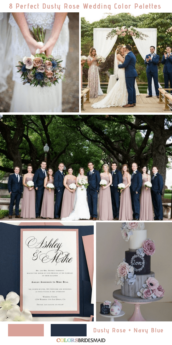 95427792fc 8 Perfect Dusty Rose Wedding Color Palettes for 2019 - Dusty Rose and Blue