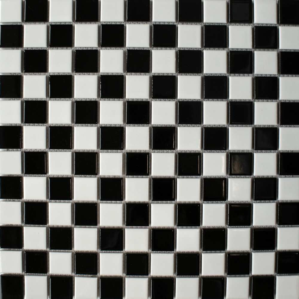 black and white tile floor. Porcelain Gloss Chequer Black  White Small Tiles from the Toto Mosaic range by Bejewelled cut into strips of 3 lines to form border between wall tiles and