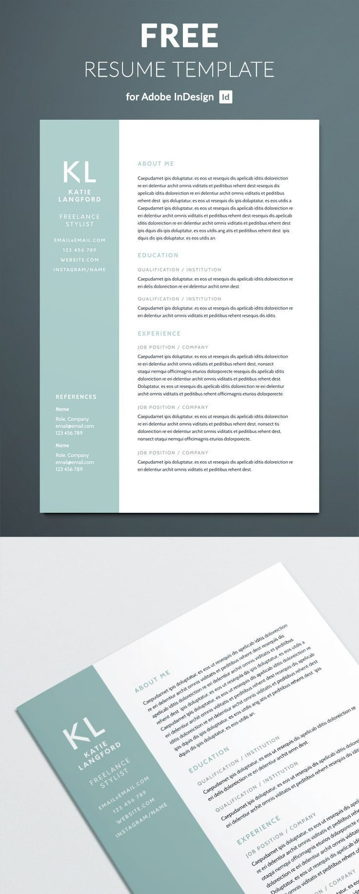free modern resume template for indesign free indesign