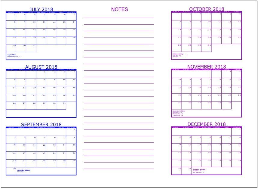 last 6 months one page calendar 2018 maxcalendars pinterest