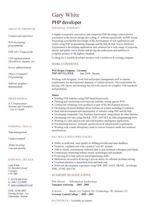 Php Programmer Resume - http\/\/wwwresumecareerinfo\/php - programmer job description