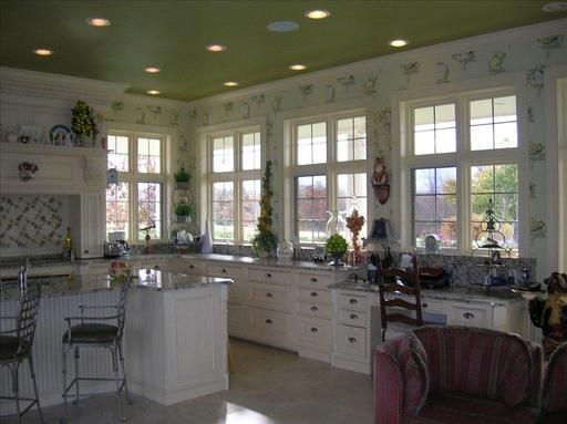 Dream Kitchen 1 - View #3    Love the green ceiling!