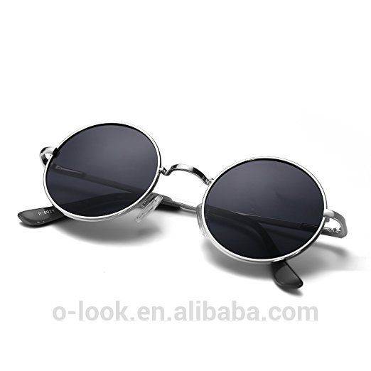 5d5c6a490a1 Hippie John Lennon Style Retro Circle Round Polarized Lens Metal Spring Frame  Sunglasses