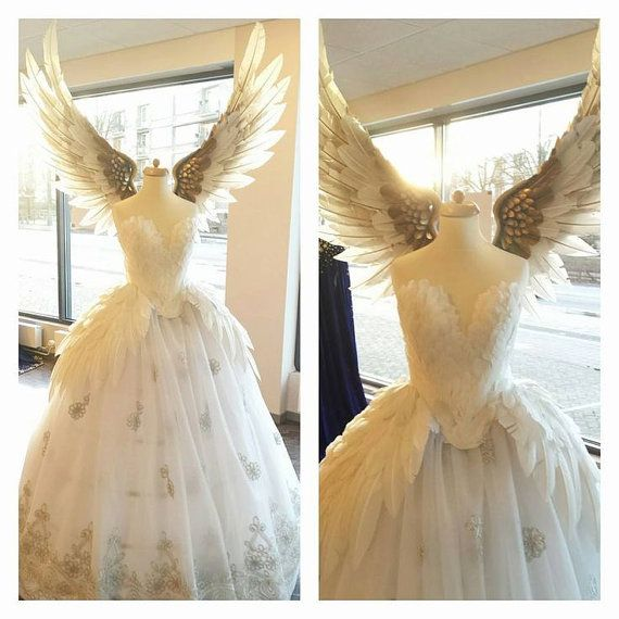 White Swan silver feather wedding dress MADE TO ORDER by Fairytas ...