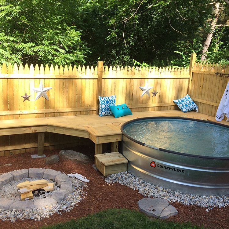 Work Hard Play Hard Our New And Finished Rustic Version Of A Backyard Oasis Absolutely In Love With Our Backyard Stock Backyard Backyard Oasis Tank Pool