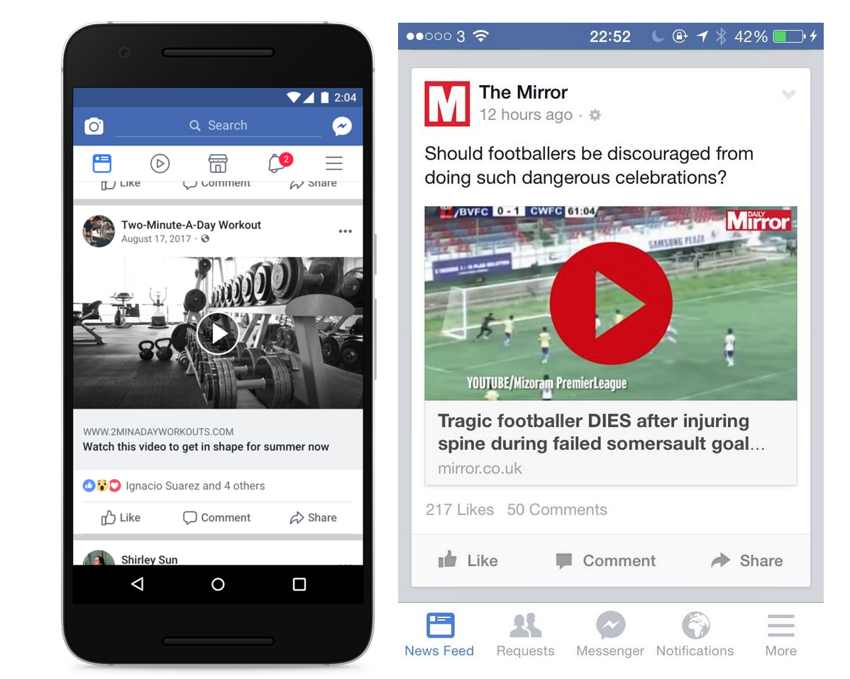 Facebook Downranks Video Clickbait And Fake Play Buttons Techcrunch Play Button Video Facebook Image