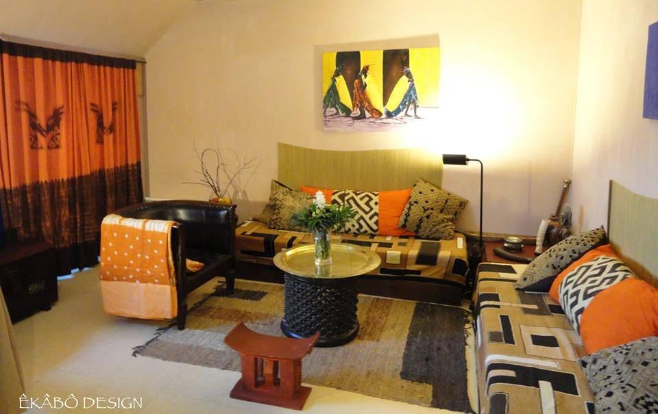 salon africain en bogolan et tissu teint by ekabo design decoration d 39 interieur africain. Black Bedroom Furniture Sets. Home Design Ideas