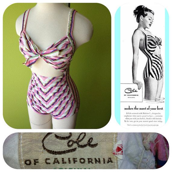 Vintage 1940s Cole of California peek a boo swimsuit ...