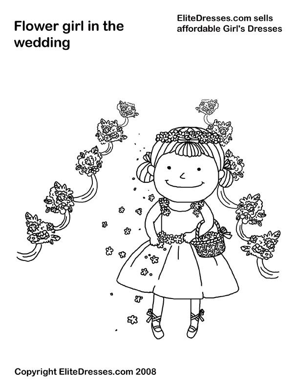 elitedressescom sells affordable girls dresses flower girl in the wedding coloring page free wedding coloring pages from elite dresses pinterest - Coloring Pages Girls Dresses