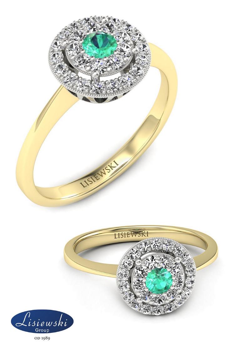 Pierścionek Zaręczynowy Ze Szmaragdem I Diamentami Złotypierścionek