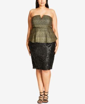 city chic trendy plus size metallic corset top  gold 24w