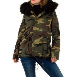 7d1714ceae Zöld terepmintás szőrmés kapucnis kabát | Női divat