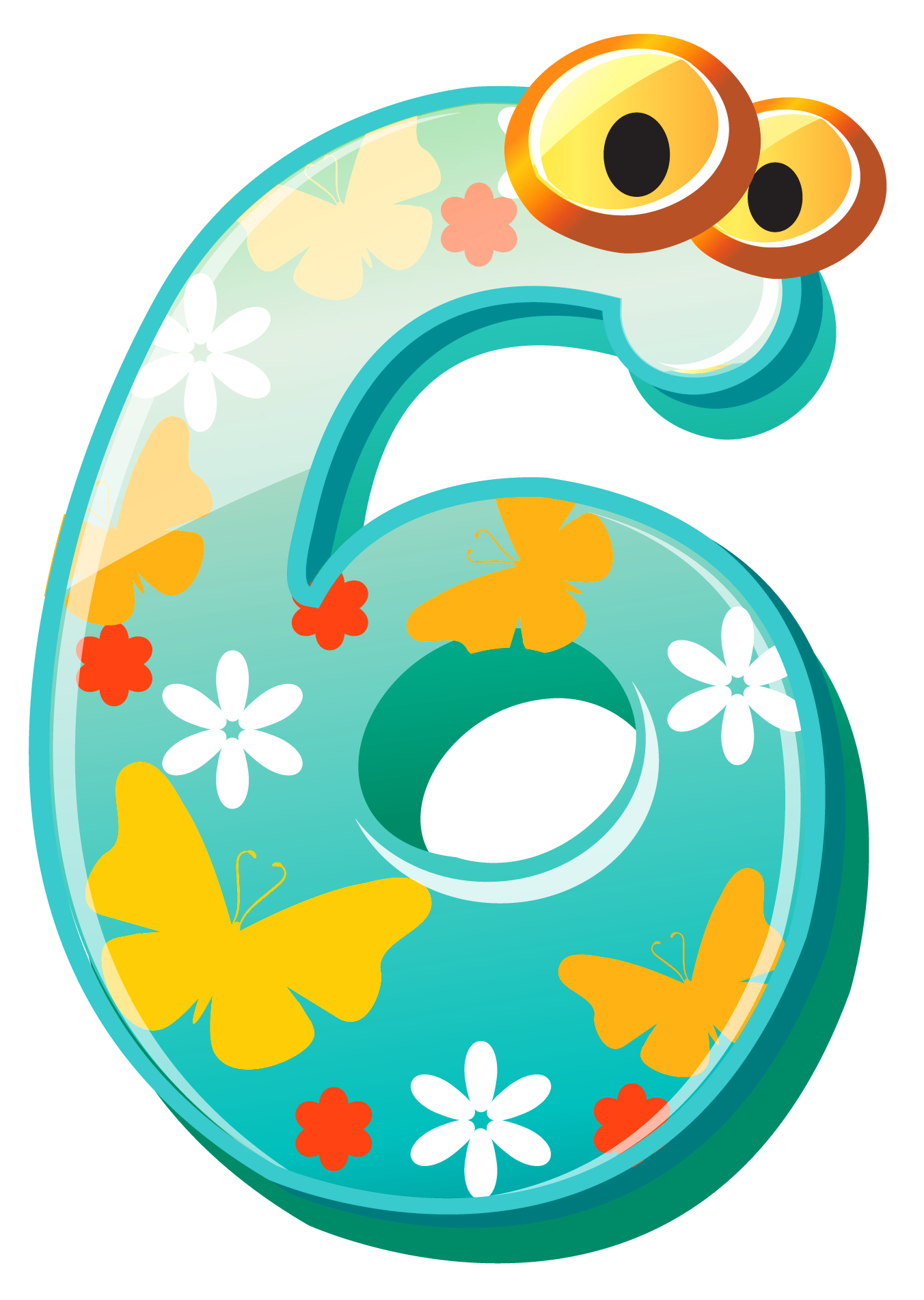 Cute Number Six Clipart Image
