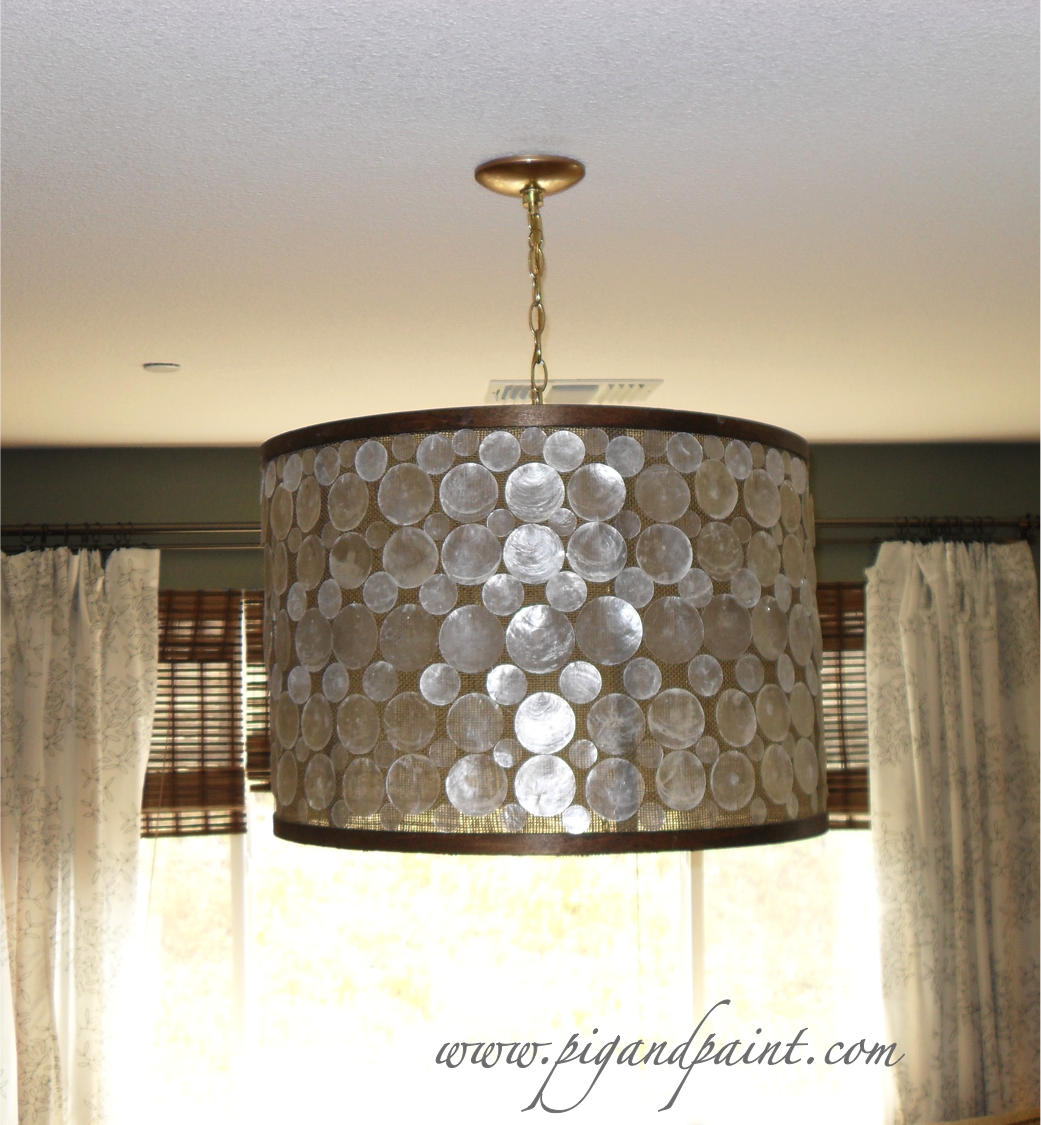 How to Make a DIY Designer Capiz Drum Shade Chandelier a la Oly