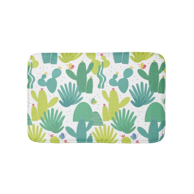 Funny cactus pattern - green bath mat #cactus #pattern #blue #funny #cactus #bathmat #outdoors #landscape #nature
