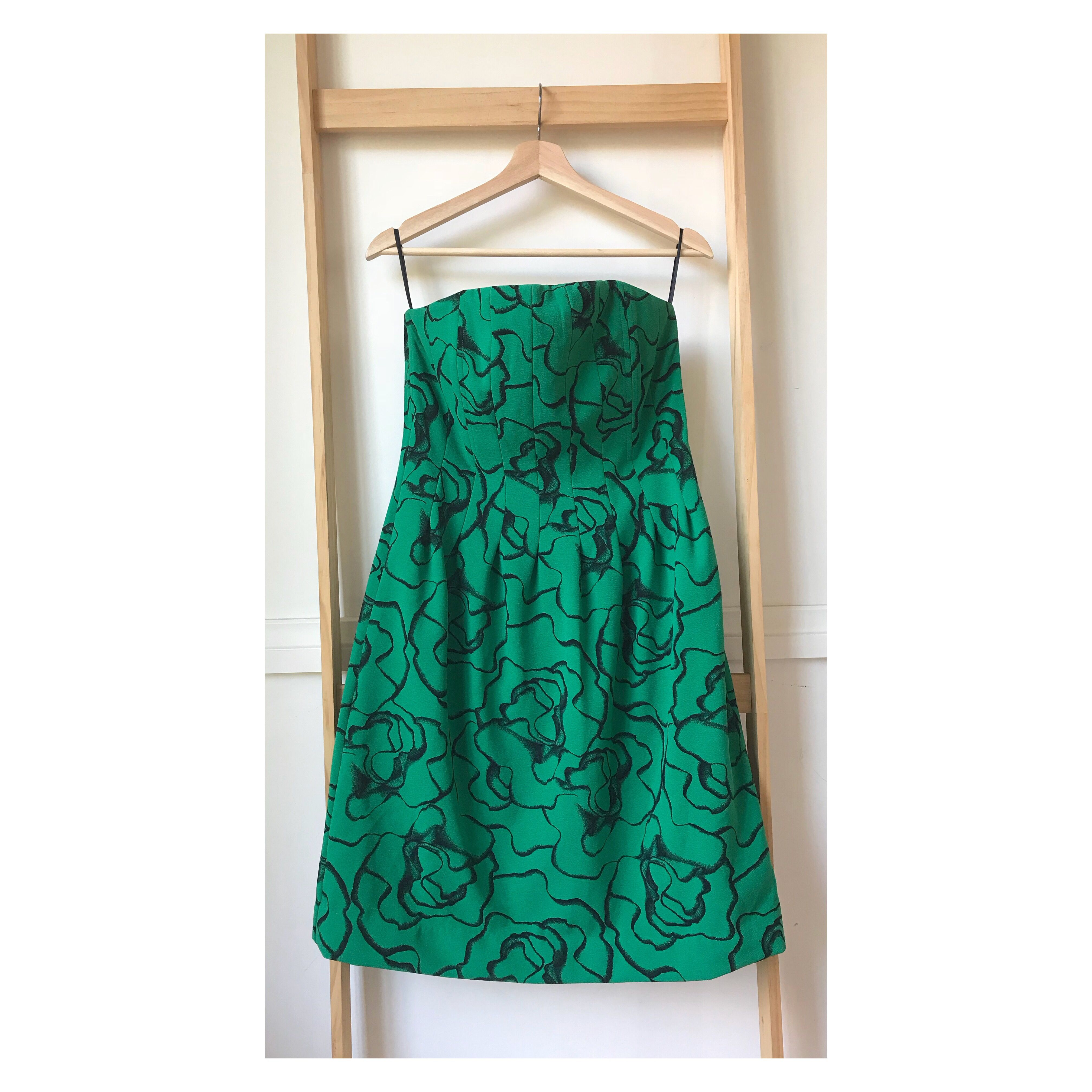 Size 10: Strapless Green dress with stunning intricate black floral print AVAILABLE
